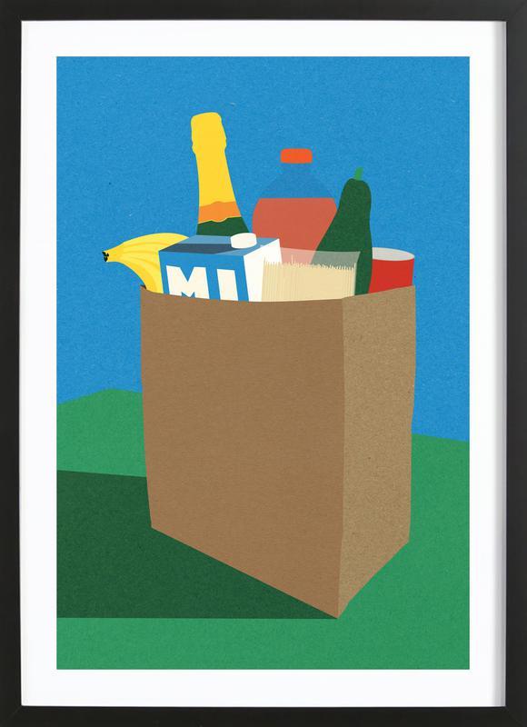 Weekly Grocery Haul -Bild mit Holzrahmen