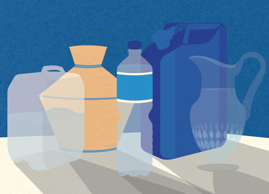5 Wasserbehälter -Leinwandbild