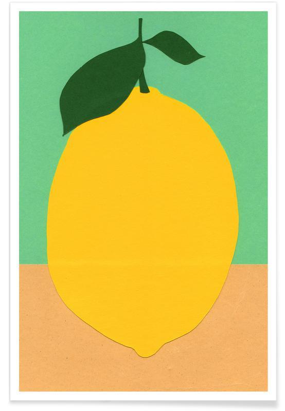 Citroner, Børneværelse & kunst for børn, Lemon with Two Leaves Plakat
