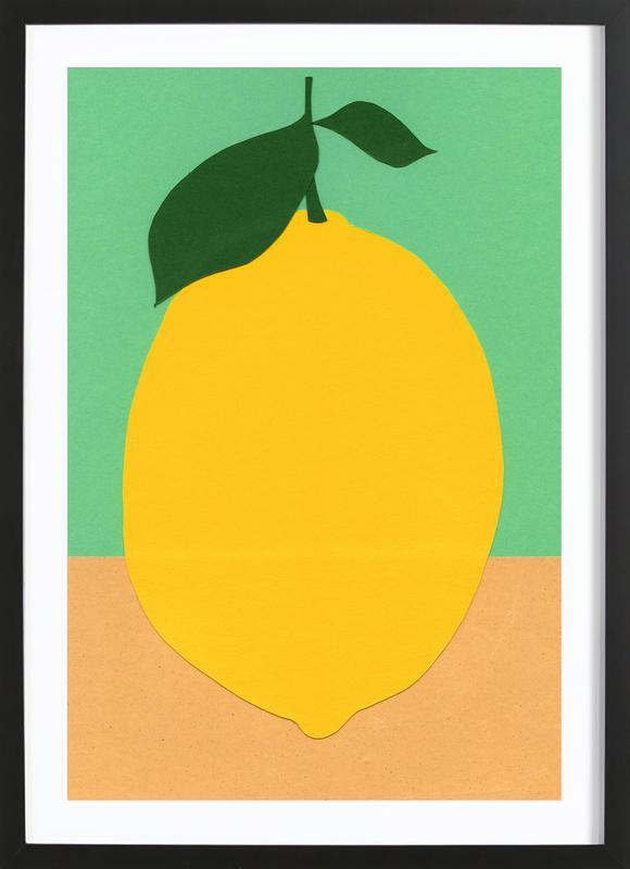 Lemon with Two Leaves Framed Print