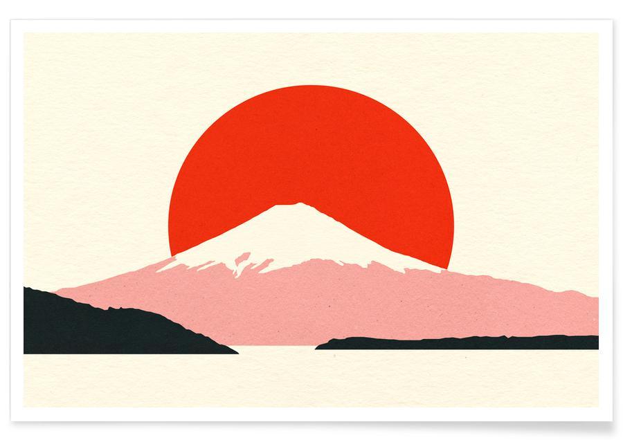 Mountains, Fuji Sun Poster