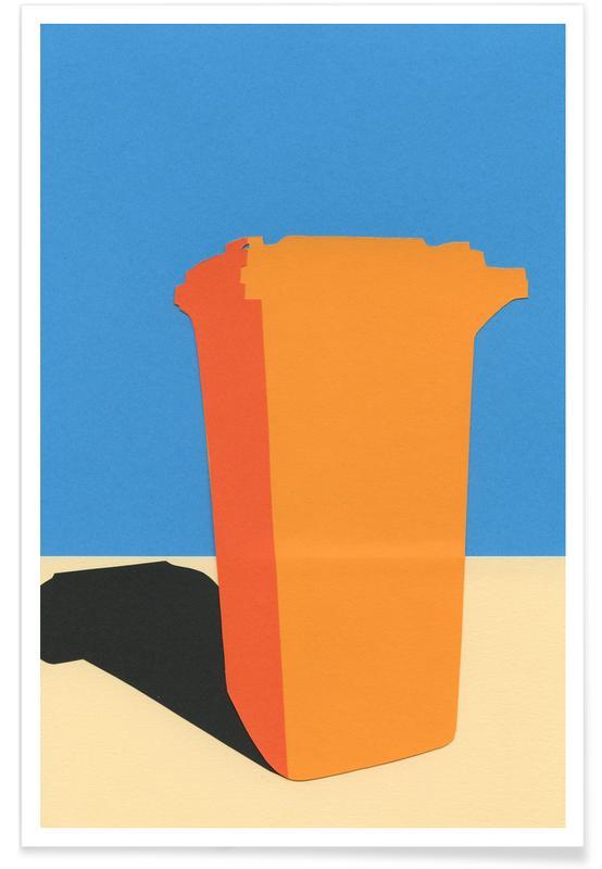 Orange Garbage Bin Poster