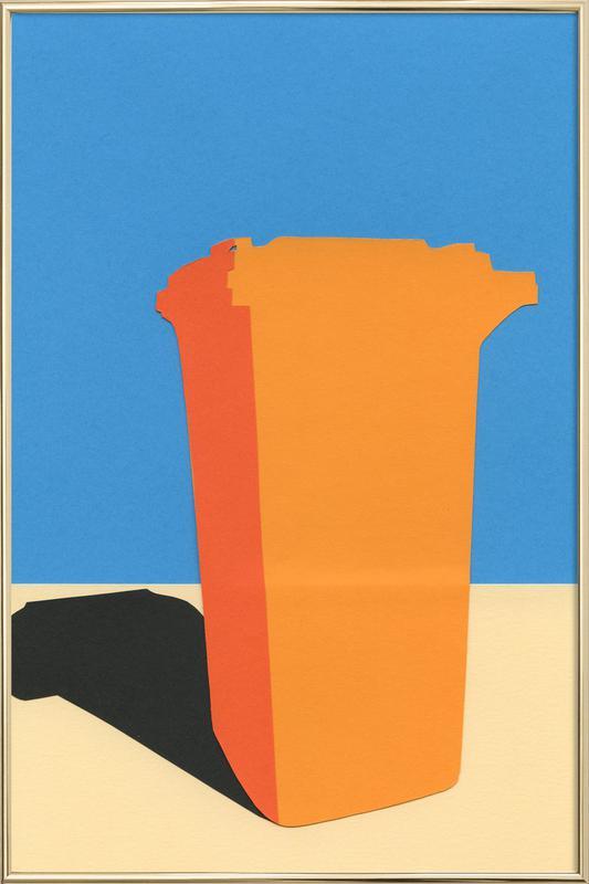 Orange Garbage Bin Poster in Aluminium Frame