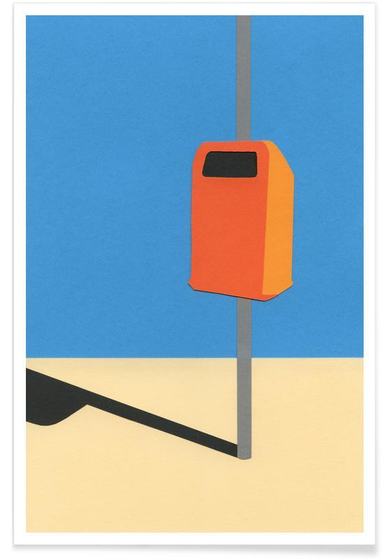 Architekturdetails, Orange Trash Can -Poster