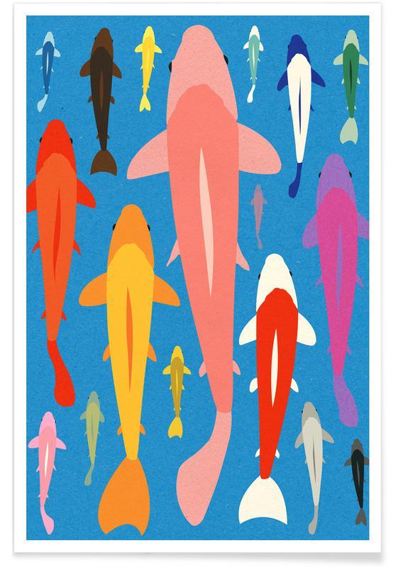 Oceanen, zeeën en meren, Vissen, Koi Gang poster