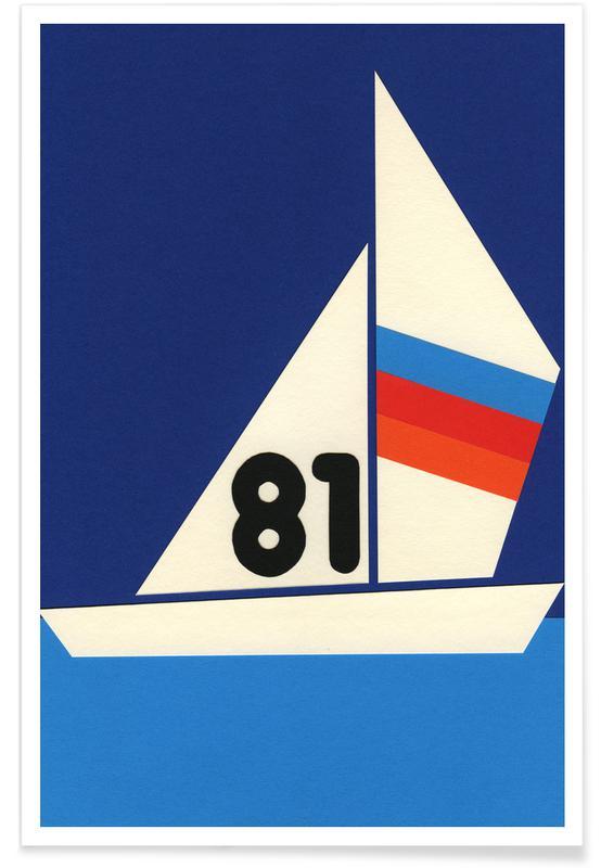 Bateaux, Art pour enfants, Sailing Regatta 81 affiche