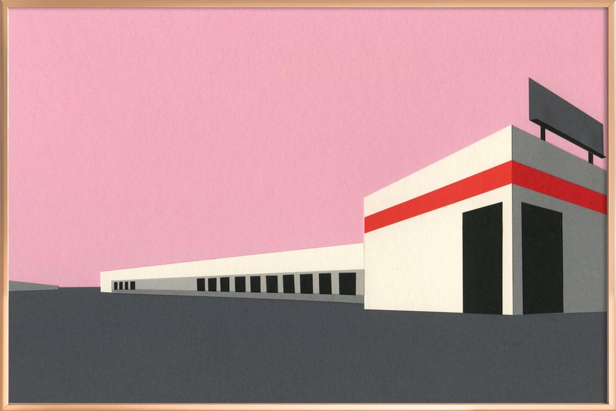Sunset Warehouse -Poster im Alurahmen