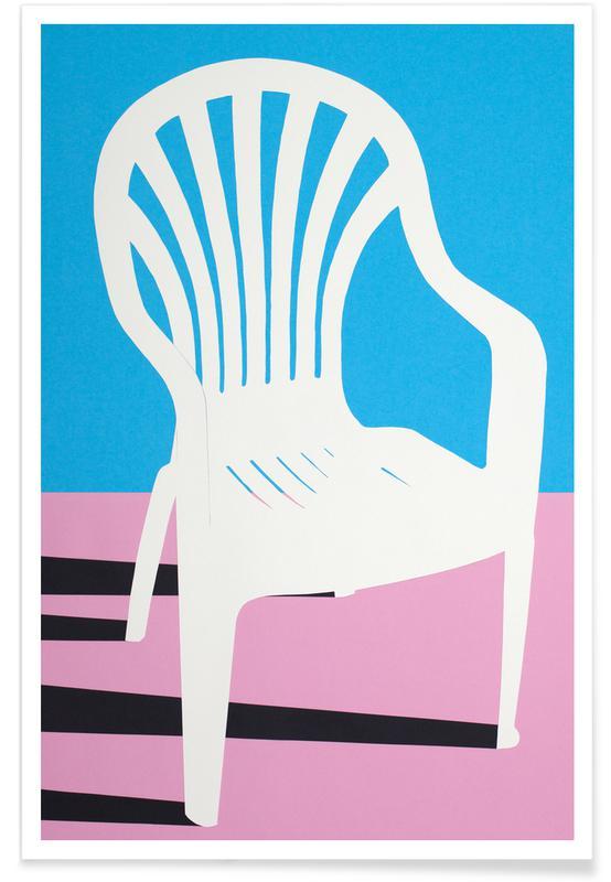 Architekturdetails, White Plastic Chair -Poster