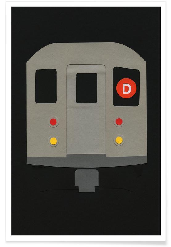 New York, Trains, New York Subway Car R62 affiche