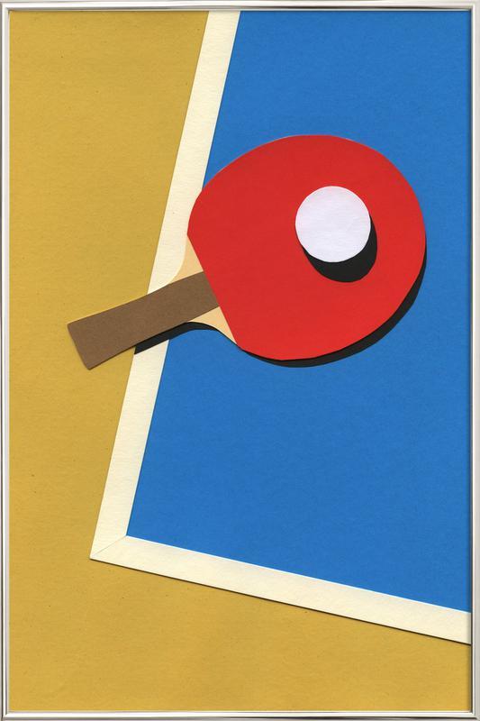 Table Tennis Team Red -Poster im Alurahmen