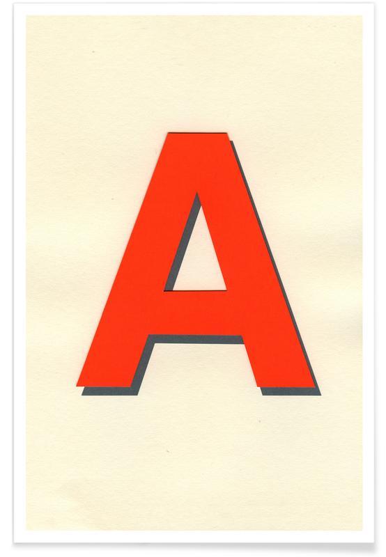 Alfabet en letters, Neon Red A poster