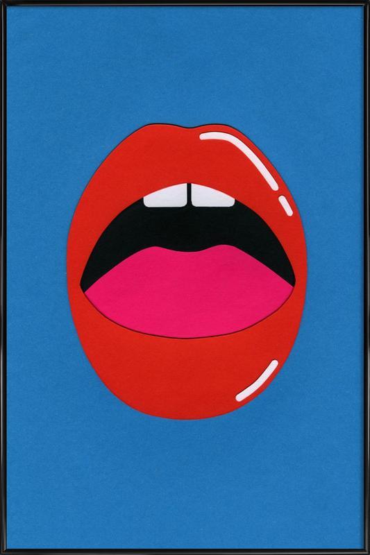 Red Lips -Bild mit Kunststoffrahmen
