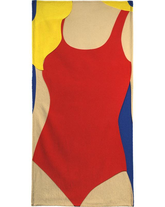 Red Swimsuit Blond Hair Bath Towel