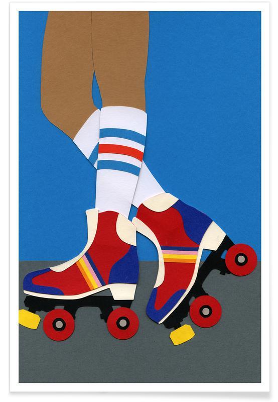 Børneværelse & kunst for børn, Skøjteløb, 70's Roller Skate Girl Plakat