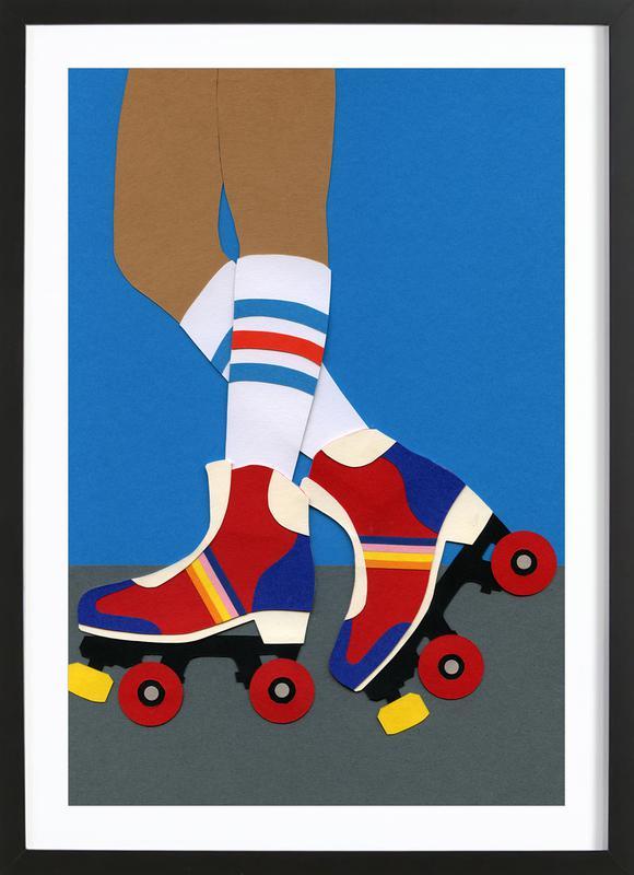 70's Roller Skate Girl affiche sous cadre en bois
