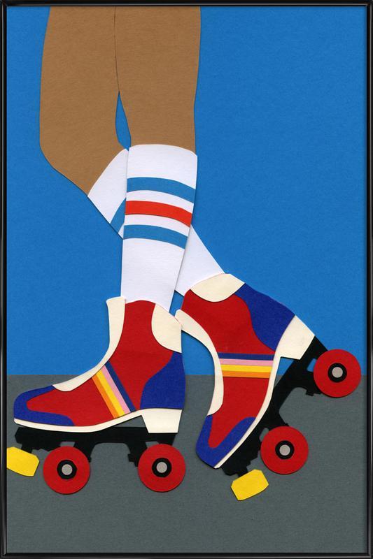70's Roller Skate Girl Framed Poster
