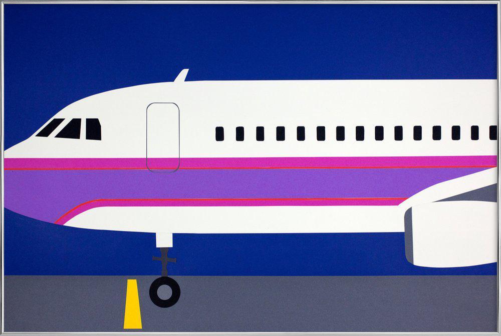 Airplane A320 affiche sous cadre en aluminium