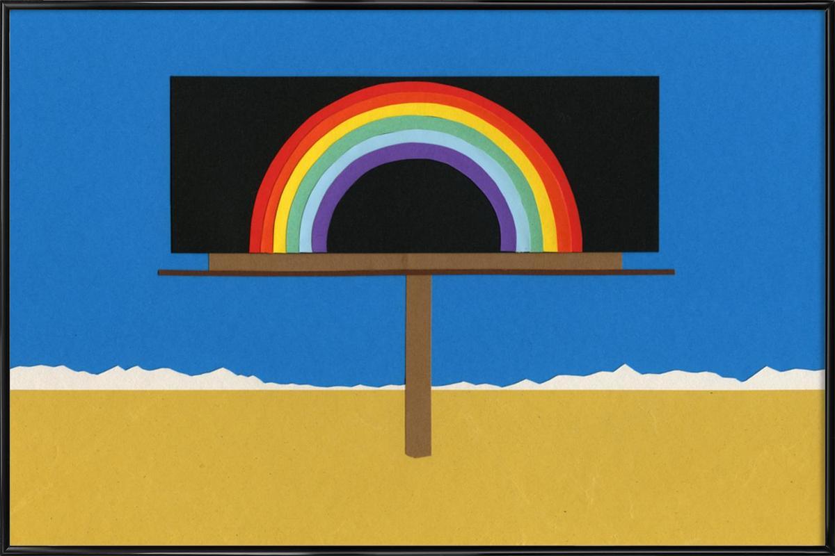Desert Billboard with Rainbow Framed Poster
