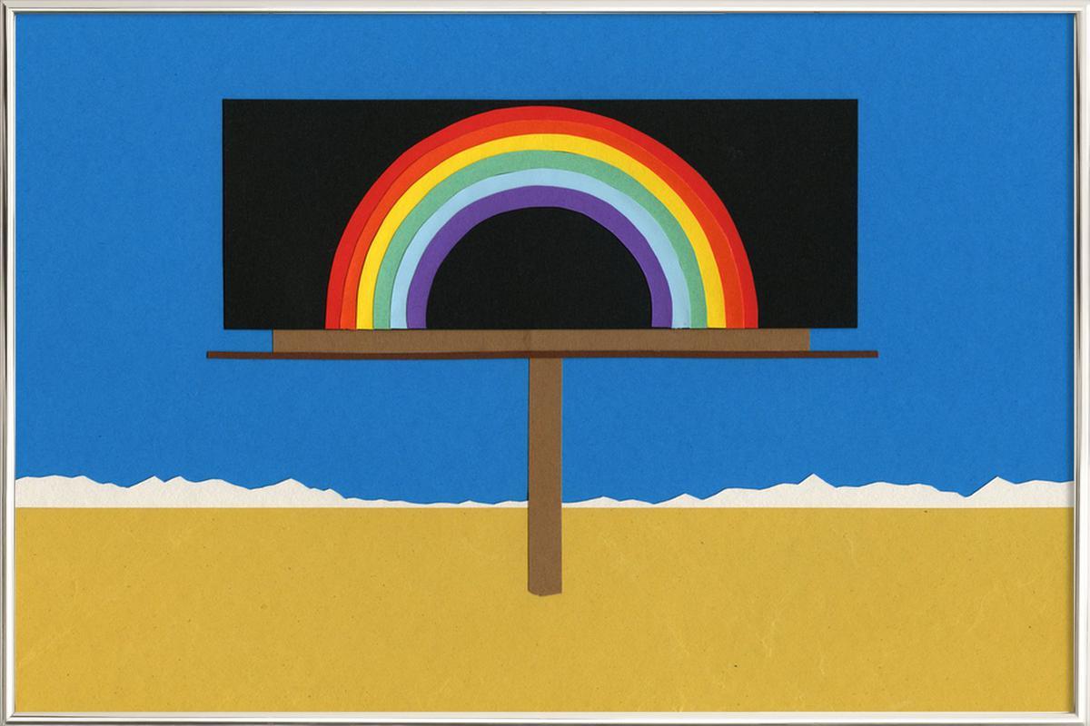 Desert Billboard with Rainbow -Poster im Alurahmen