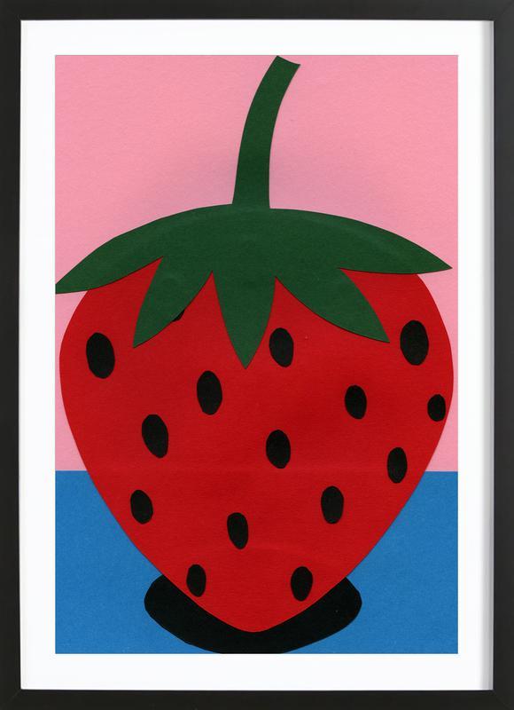 Strawberry -Bild mit Holzrahmen