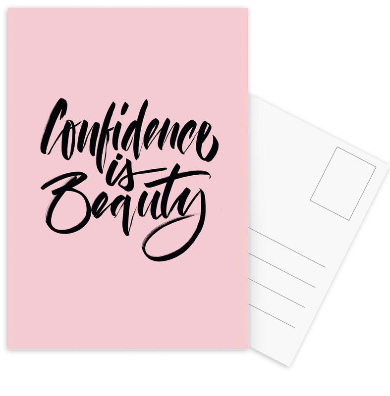 Zitate & Slogans, Confidence is Beauty Pink -Postkartenset