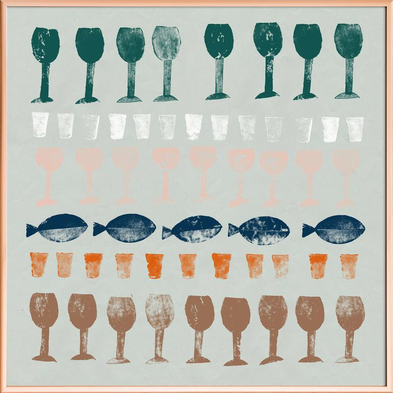 Fish and Wine 1 -Poster im Alurahmen
