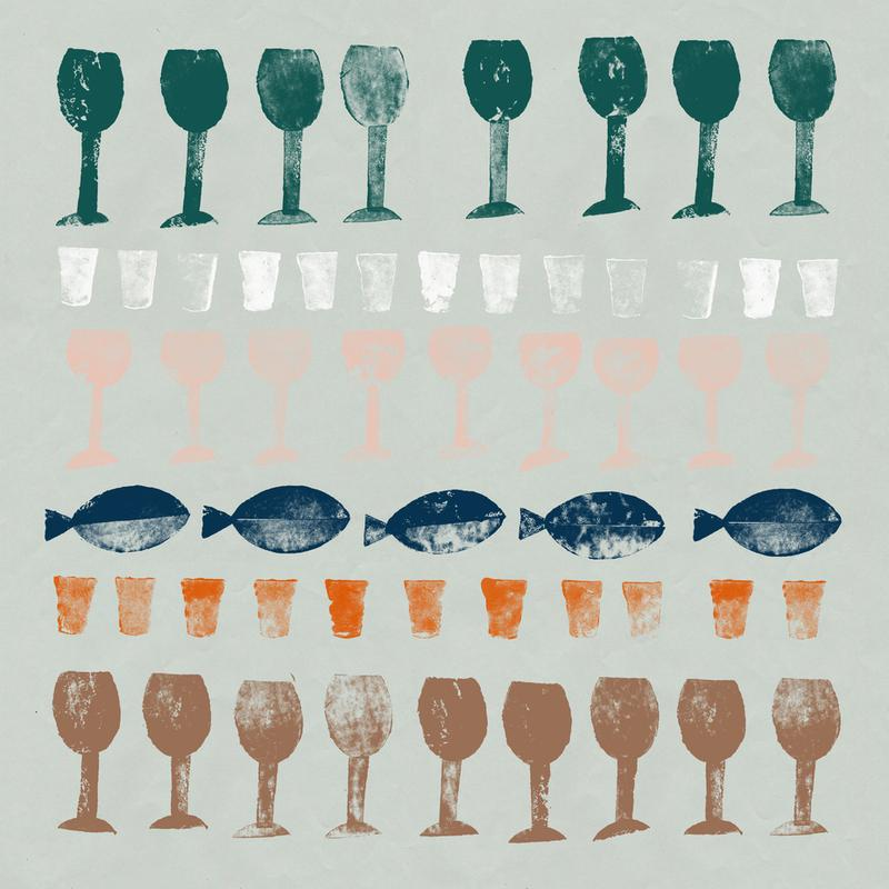 Fish and Wine 1 Aluminium Print