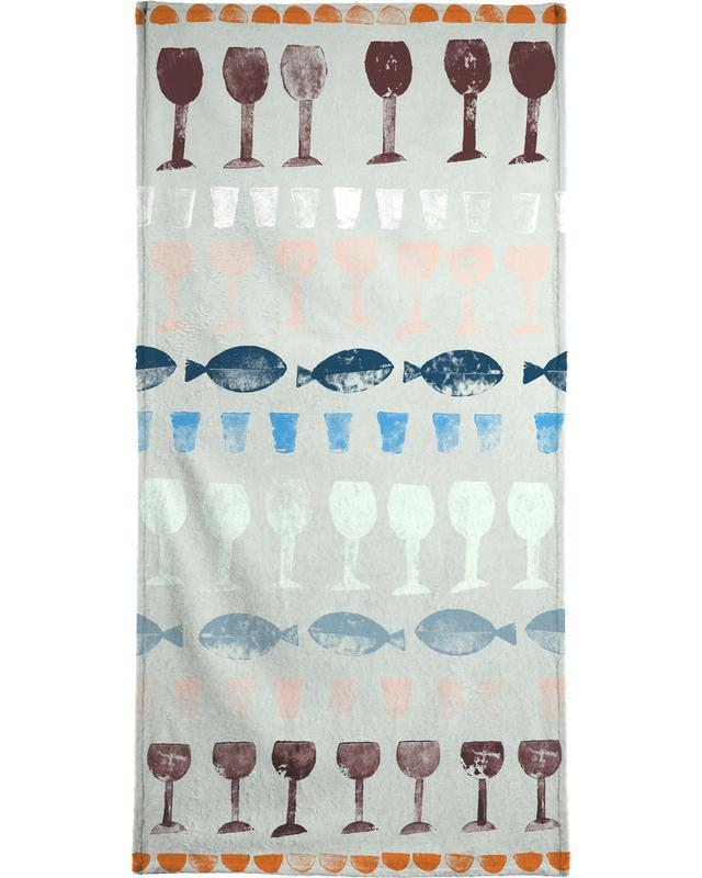 Fish and Wine 1 Beach Towel