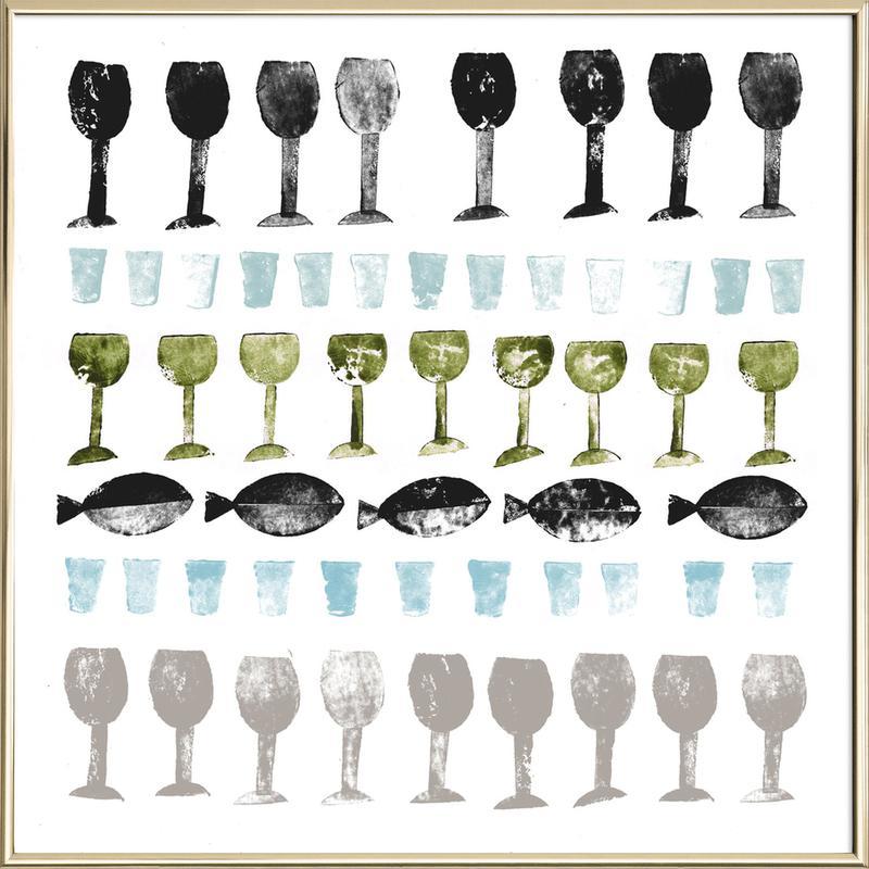 Fish and Wine 2 -Poster im Alurahmen