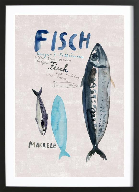 Fisch -Bild mit Holzrahmen