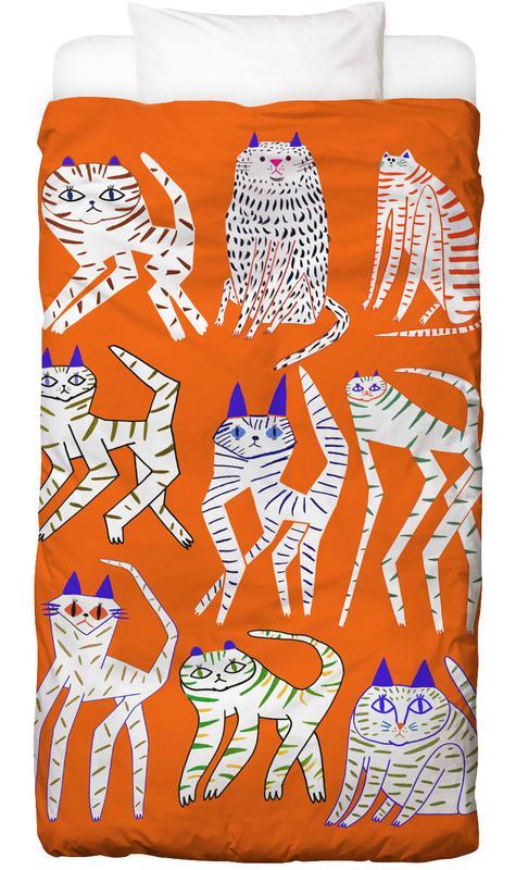 Katzen, Kinderzimmer & Kunst für Kinder, Cats 9 Orange -Kinderbettwäsche