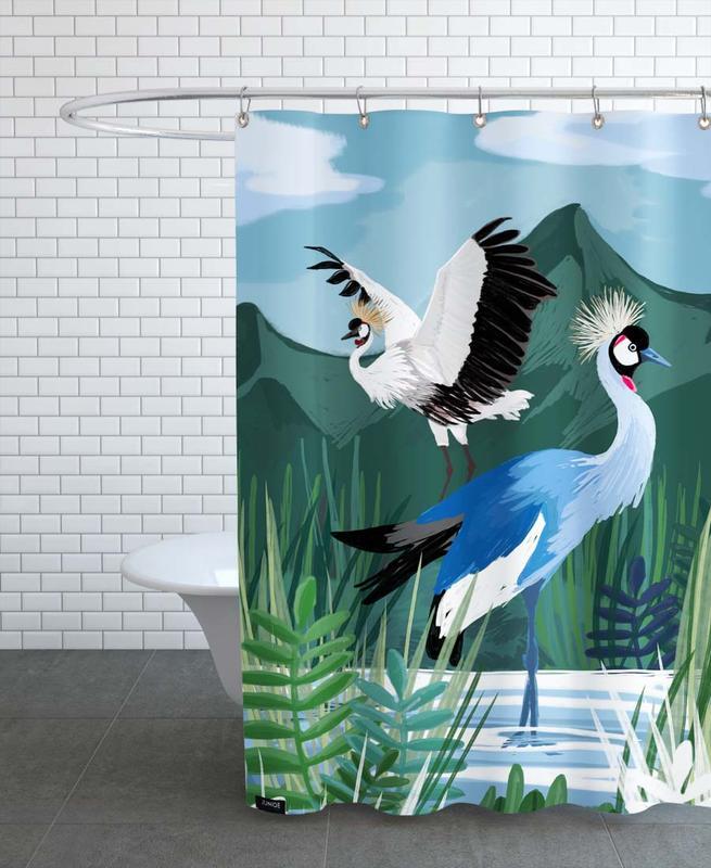 Grues, Cranes In The Water rideau de douche