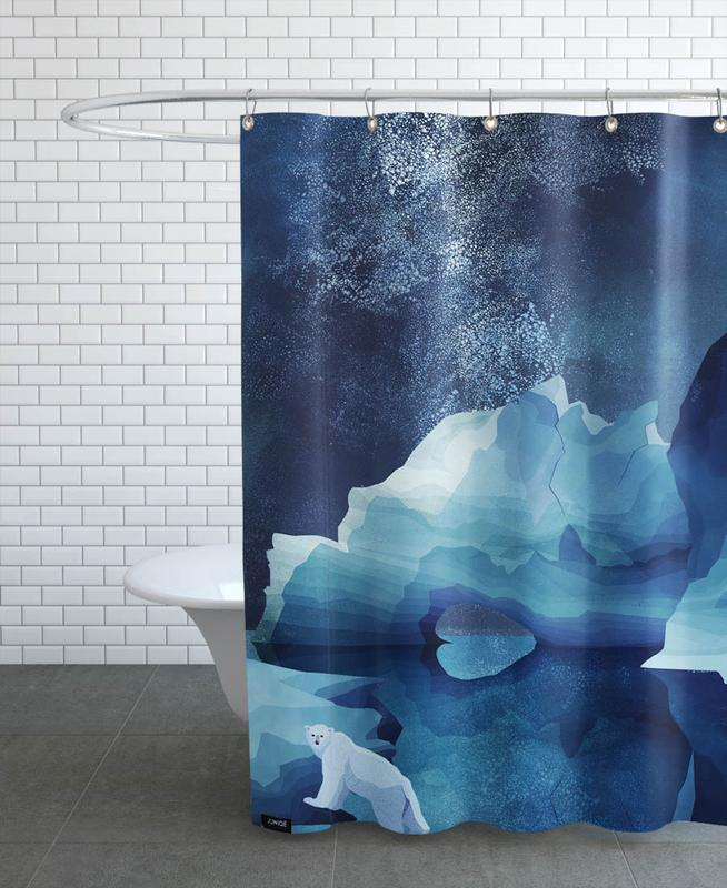 Bären, Kinderzimmer & Kunst für Kinder, Polar Bear by Night -Duschvorhang