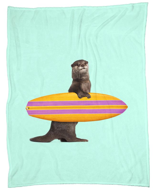 Surfing Otter Fleece Blanket