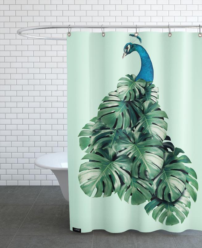 Monstera Bird Shower Curtain
