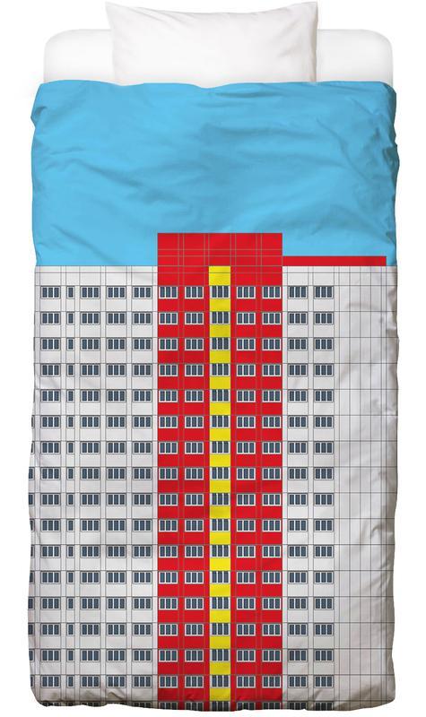 Plattenbau Rot -Kinderbettwäsche