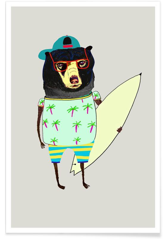 Beren, Kunst voor kinderen, Bear Surfer poster