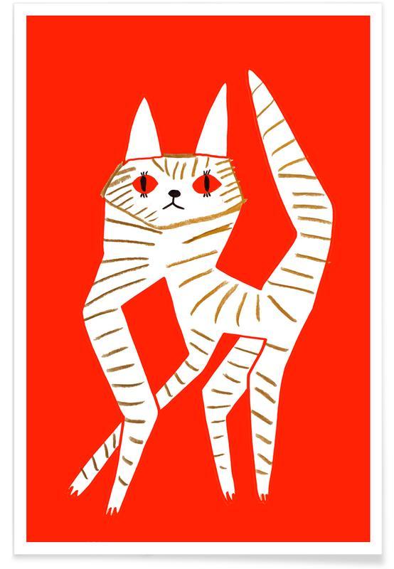 Chats, Art pour enfants, Cat Red affiche