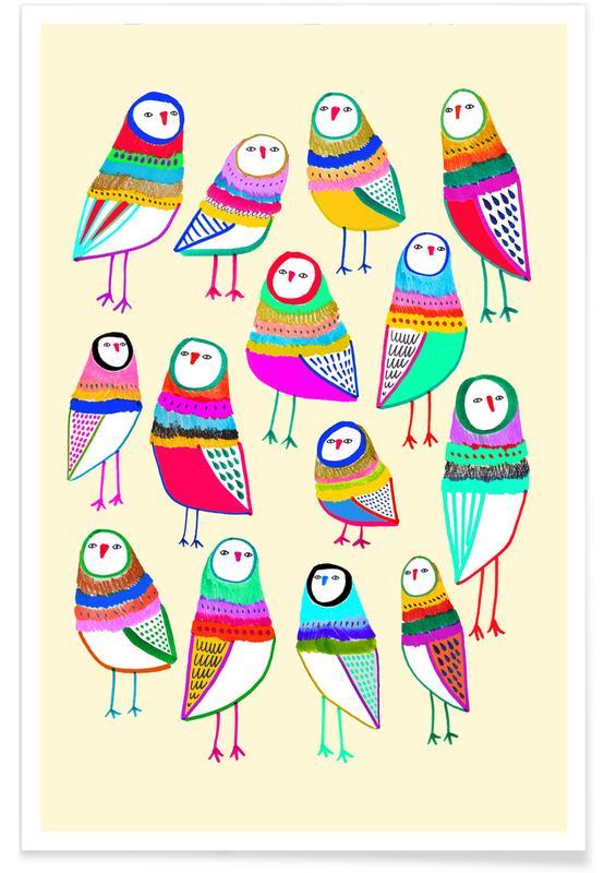Eulen, Kinderzimmer & Kunst für Kinder, Owl Pattern 1 -Poster