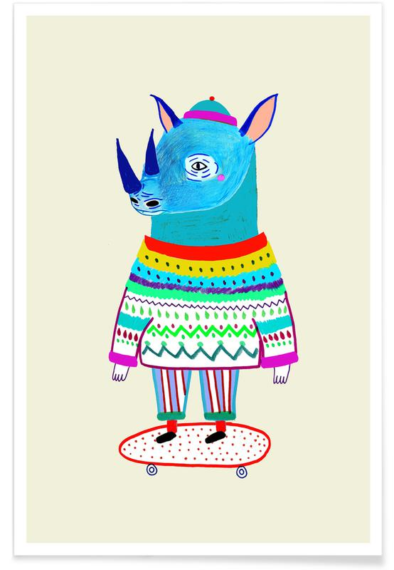 Art pour enfants, Rhinocéros, Rhino Skate affiche