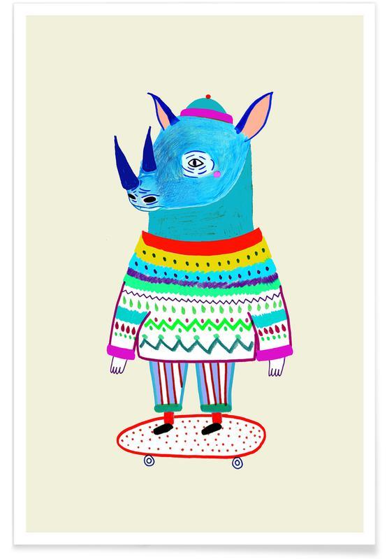 Børneværelse & kunst for børn, Næsehorn, Rhino Skate Plakat