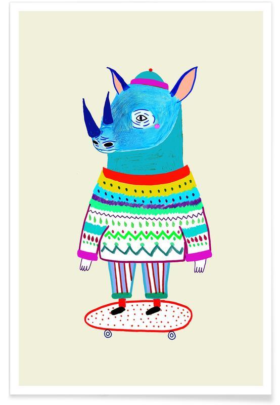 Kinderzimmer & Kunst für Kinder, Nashörner, Rhino Skate -Poster
