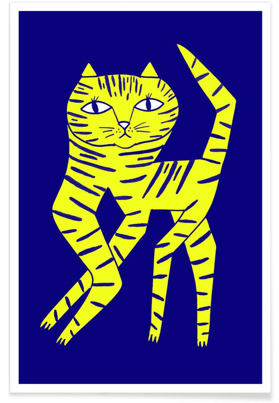 Cats, Nursery & Art for Kids, Cat Round Yellow Poster