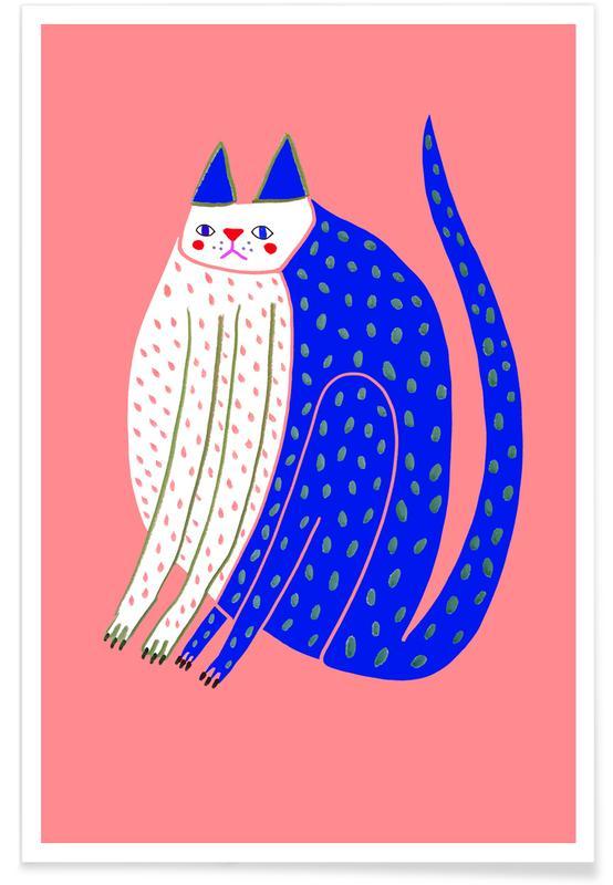 Katzen, Kinderzimmer & Kunst für Kinder, Cat Spotted -Poster