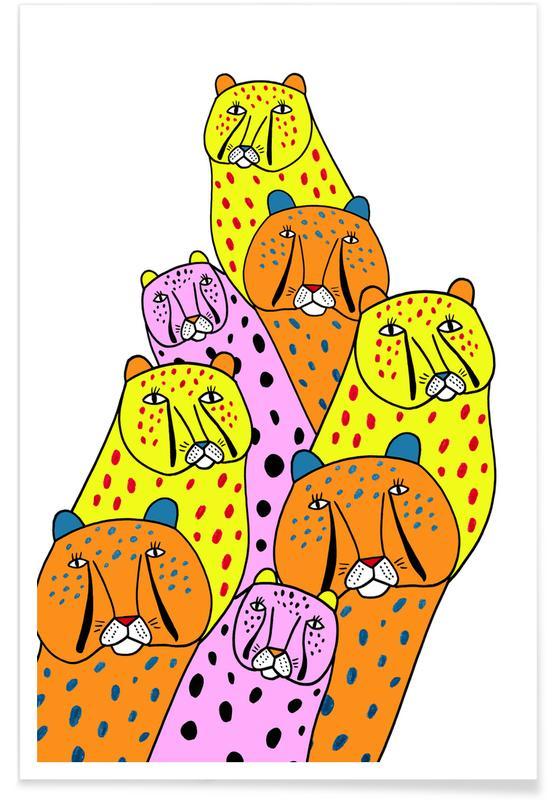 Art pour enfants, Guépards, Cheetah Gang affiche