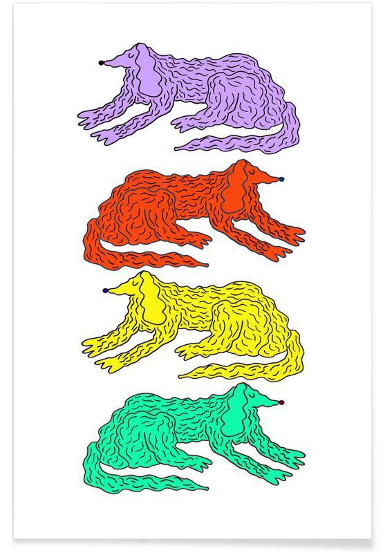 Hunde, Kinderzimmer & Kunst für Kinder, Dogs Four -Poster