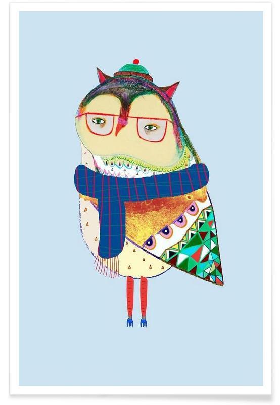 Kinderzimmer & Kunst für Kinder, Owl Scarf -Poster