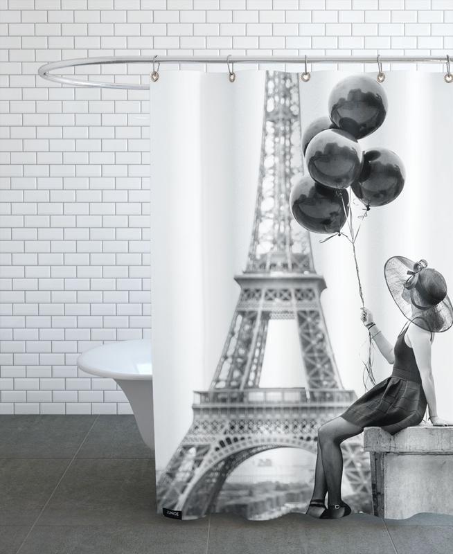 Black Balloons Shower Curtain