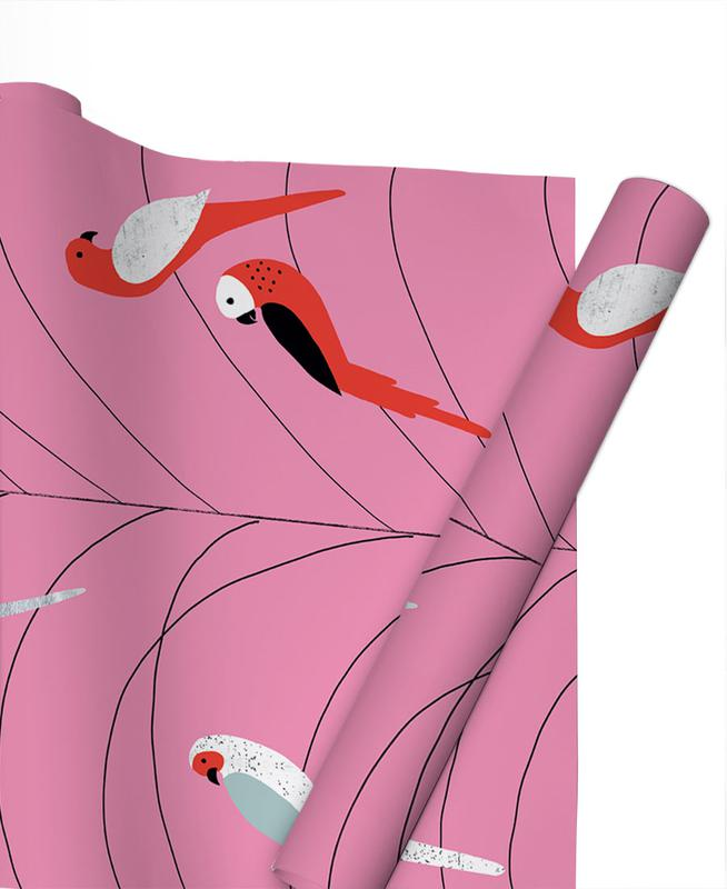Tropicana - Birds on Branch Pink Gift Wrap