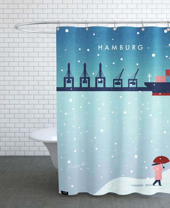 Travel, Vintage Travel, Hamburg Im Winter Shower Curtain